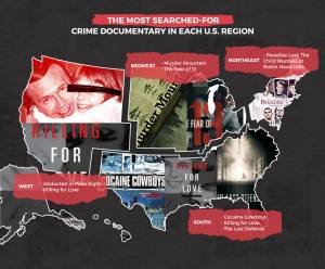 most searched true crime docs region map