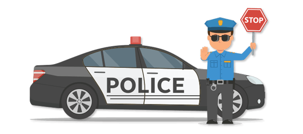 Illustration of police officer and his car